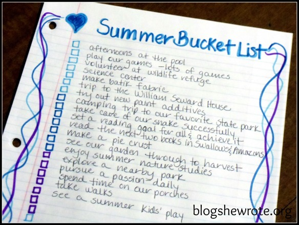 Blog She Wrote: Summer Bucket List